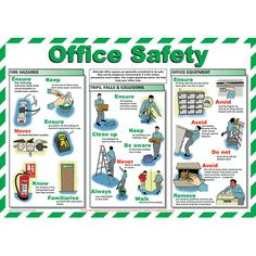 Office Safety chart - from Signs & Plastic Products Ltd. This poster details general office safety procedures and best working practices. Fire Safety Poster, Health And Safety Poster, Safety Posters, Office Safety, Workplace Safety Tips, Safety Talk, Lab Safety, Safety Pictures, Safety Slogans