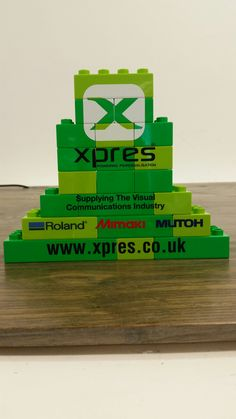 Logos printed on to building blocks with Mimaki UJF-3042FX Flatbed LED UV A3 Printer.