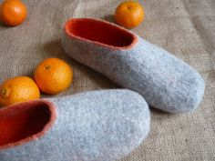 www.littlewoollysheep.com Handmade / felt men slippers CHRISTMAS
