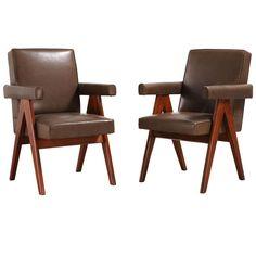 "1stdibs.com | Pair of ""Senat"" armchairs by Pierre Jeanneret"
