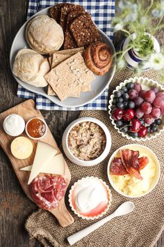 Brunch spread: fruit