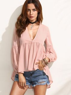 Shop Pink V Neck High Low Blouse online. SheIn offers Pink V Neck High Low Blouse & more to fit your fashionable needs.
