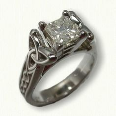 14kt White Gold Celtic Jennifer Mounting set with a Princess Cut Diamond - Available In All Metals and Sizes