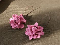 Pink rose leather earrings by leasstudio on Etsy
