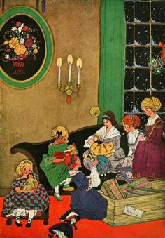 Stories 1922 Six Exquisite dolls Canvas Art - Edna Cooke x Vintage Children's Books, Vintage Cards, Christmas Past, Vintage Christmas, The Other Sister, Ugly Dolls, Children's Book Illustration, Book Illustrations, Creative Skills