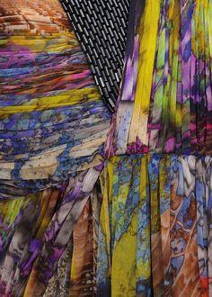 mixed batik prints & pleated textures - printed fabric fashion // Matthew Williamson