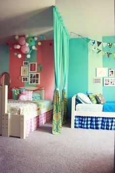 18 Shared Bedroom Ideas for Kids   Lil Blue Boo. Boy and girl shared room with divider via Life Made Lovely