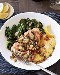 Swordfish Piccata Recipe from Food & Wine #quick (try with 1/2 butter next time)
