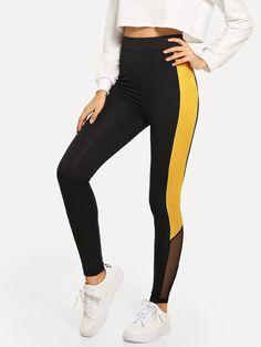 Shop Wide Waistband Mesh Insert Two Tone Leggings online. SHEIN offers Wide Waistband Mesh Insert Two Tone Leggings & more to fit your fashionable needs. Women's Sports Leggings, Camouflage Leggings, Legging Sport, Tops For Leggings, Printed Leggings, Women's Leggings, Cheap Leggings, Baile Hip Hop, Mode Des Leggings