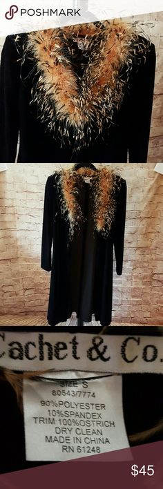 Vintage ostrich feather wrap Black velvety long sleeve wrap with ostrich feathers. Eye hook closure in front.  Extremely unusual piece of apparel. EUC Cachet & Co Jackets & Coats Capes