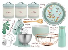 """Spring Baking"" by bluecatreview13 ❤ liked on Polyvore featuring interior, interiors, interior design, home, home decor, interior decorating, Flamant, Laura Ashley, KitchenAid and CB2"