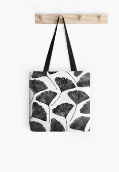 'Ginkgo biloba, Lino cut nature inspired leaf pattern' Tote Bag by emporiumjulium Apron Pattern Free, Tote Pattern, Fabric Stamping, Embroidery For Beginners, Printed Tote Bags, Digital Form, Handmade Bags, Printing On Fabric, Shopping Bag