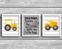 Set of 3 Tractors, Trucks, and Toys. There's Nothing Quite Like Little Boys Digital Download Instant Printable Nursery Boys Room Wall Art