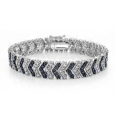1.00 Carat TDW Treated Blue & White Diamond Chevron Bracelet in Brass
