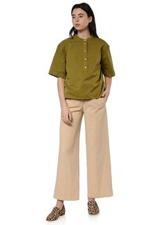 You Must Create - Manon Shirt in Olive – gravitypope Box Pleats, Hemline, Khaki Pants, Short Sleeves, This Or That Questions, Create, Fabric, Cotton, How To Wear