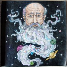 """Mr. Sandman, bring me a dream..."" From Mythomorphia by Kerby Rosanes. #mythomorphia #inktense #coloringbook #kerbyrosanes #adultcoloringbook #morphiamay #polychromos #galaxy #mrsandman #coloringbook #coloring"