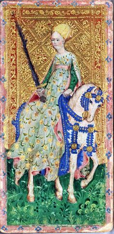 Horsewoman from the Visconti tarot deck by Bonifacio Bembo c.1450.