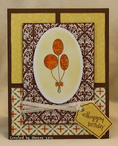 "A simple birthday card. Patterned papers from the Jillibean Soup ""Dutch Mustard"" collection, stamps from Verve."