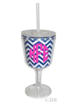 Personalized Acrylic Wine Glass -Lid and Straw