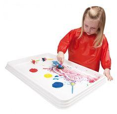 Painting and craft activities without the mess. Perfect for finger painting, collage activities, jigsaws and more. Made from tough plastic. Measures 4 H x 65 W x 45cm D.