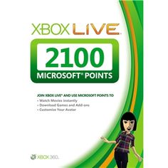 Xbox Live 2100 Microsoft Points Card