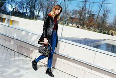 Veronika Heilbrunner in a Louis Vuitton coat and bag