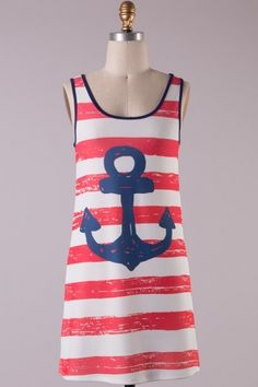 Sleeveless round neck striped anchor printed knitted dress