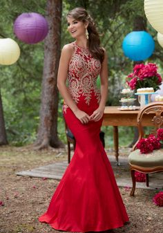 Morilee by Madeline Gardner 98035 | Stretch Taffeta Prom Dress with Beaded and Embroidered Net Bodice. Side Zipper Closure. Colors Available: Sapphire, Red, Black.