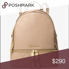 Michael Kors leather backpack Rhea medium quilted backpack . Bisque color. Brand new come with dust bag. Michael Kors Bags Backpacks