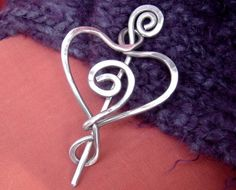 Aluminum Spiral Love Heart Shawl Pin, Sweater Brooch, Scarf Pin, Fastener, Closure - Light Weight  Wire - Knitting Accessories, Women