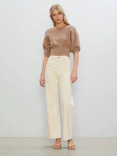 Brun Crop fine-knit jumper   Dame   Genser på BikBok.com Summer Looks, Cloths, Jumper, Khaki Pants, Knitting, Fashion, Drop Cloths, Moda, Khakis