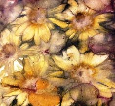 Natural dying and printing with plants...flowers printed on paper
