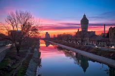 Timisoara - Bega Canal at sunset (Iosefin neighborhood)