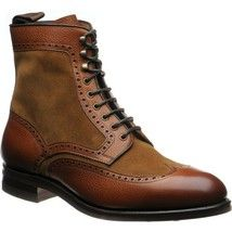 Brown Wingtip High Ankle Suede Genuine Finished Cow Leather Laceup Boots US 7-16 - £123.59