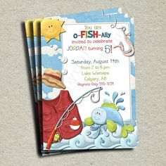 Fish Birthday Invitation - DIY - You Print. $13.00, via Etsy.