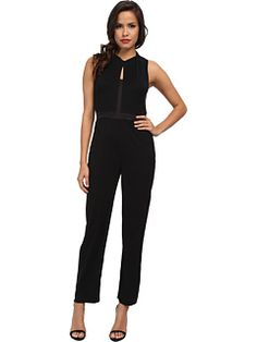 Ivy & Blu Maggy Boutique Sleeveless Solid Tuxedo Inspired Jumpsuit w/ Keyholes