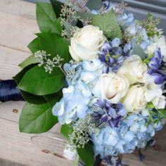 Blue bouquet, Delphinium, Hydrangea, Seeded Eucalyptus, Freesia & Roses