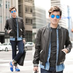 Alexander Liang - Coach Leather Jacket, New Balance Sneakers - Black Leather, Blue Jeans