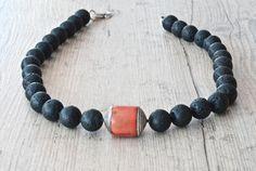 Lava Rock Necklace Santorini Black Lava Rock & by SunSanJewelry Rock Necklace, Black Polish, Black Thread, Santorini, Necklace Lengths, Lava, Women's Accessories, Jewelry Collection, Jewelery