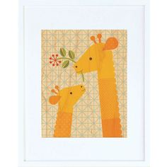 Giraffe Baby Framed Print - $44.00  Printed on sustainably harvested maple veneer and framed in a modern white hardwood frame. Includes a glass front and comes ready to hang.
