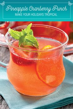 It's sparkly, fruity, and it's oh so merry and bright. This punch made with DOLE® Pineapple Juice, cranberry, and orange juices will make you feel like you're on a tropical holiday vacation. The ginger ale gives it a fizzy finish. Your guests will wonder if it's really winter.