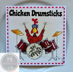 Pack of 6 Funny Food Cards. Party Invitations. Drums Drummer Cards. Wholesale…