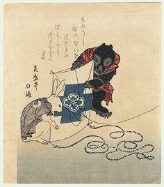 Takitumblr — oni-fukucho:  Rabbit and Bear Cub with Kite...