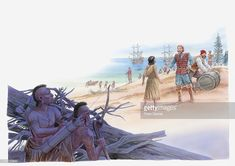 View top-quality illustrations of Illustration Of Pocahontas Talking With Captain John Smith. Find premium, high-resolution illustrative art at Getty Images. Native American Warrior, John Smith, Free Illustrations, Pocahontas, Sailing Ships, Woodland, Modern Paintings, Adventure, Genealogy