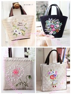 Flowers Embroidery on Bags Japanese Craft Book by PinkNelie