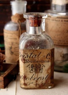 vintage bottles with worn labels Apothecary Bottles, Altered Bottles, Antique Bottles, Vintage Bottles, Bottles And Jars, Vintage Labels, Glass Bottles, Perfume Bottles, Brown Bottles