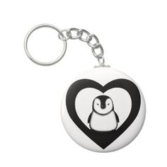 I heart penguins key ring