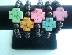 Howlite crosses with Glass Beads