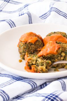 Baked Falafel with a Spicy Moroccan Sauce - baked in a muffin tin! #ProgressiveEats Recipe found on http://thewimpyvegetarian.com blog.
