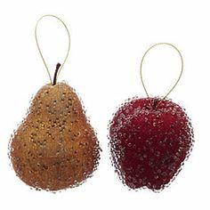 by Sainsbury's Beaded Apple & Pear Tree Decorations - 6.5cmx7cm - £3.00